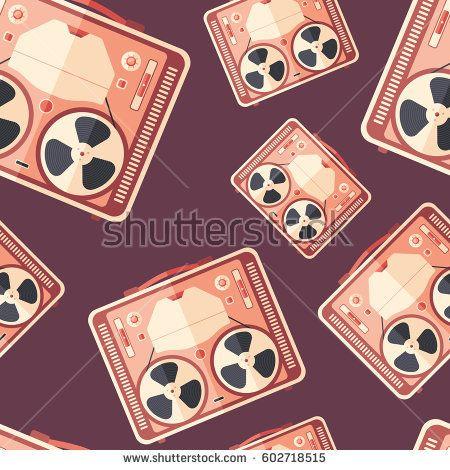 Retro reel tape recorder flat icon seamless pattern. #retro #retropattern #vectorpattern #patterndesign #seamlesspattern