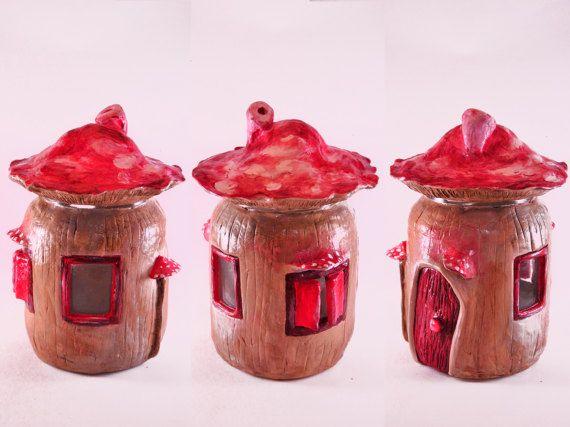 Fairy house jar Mushroom house jar Decorative storage jar