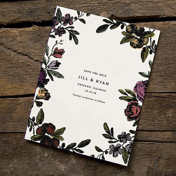 Vintage Botanical Save the Date Floral Save the by HelloTenfold
