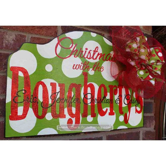 Personalized Christmas Door Hanger Sign by SparkledWhimsy on Etsy, $40.00