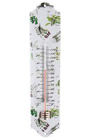 Gyógynövény mintázatú fém hőmérő. Alkalmas kül- és beltérre, 50 és -20 fok között méri a hőmérsékletet.Mérete:magasság: 29 cm, szélesség: 7 cm, mélység:0,5 cmSúlya: 0,1 kg