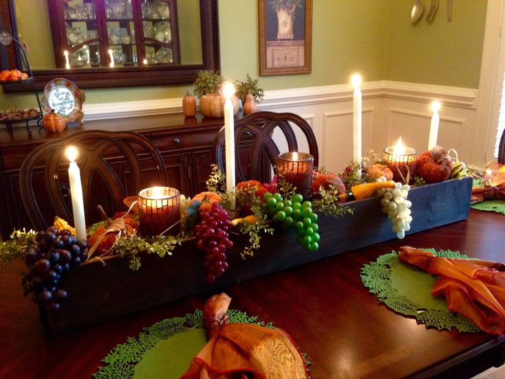 Fall Table Scape Thanksgiving Candles Grapes Pumpkins