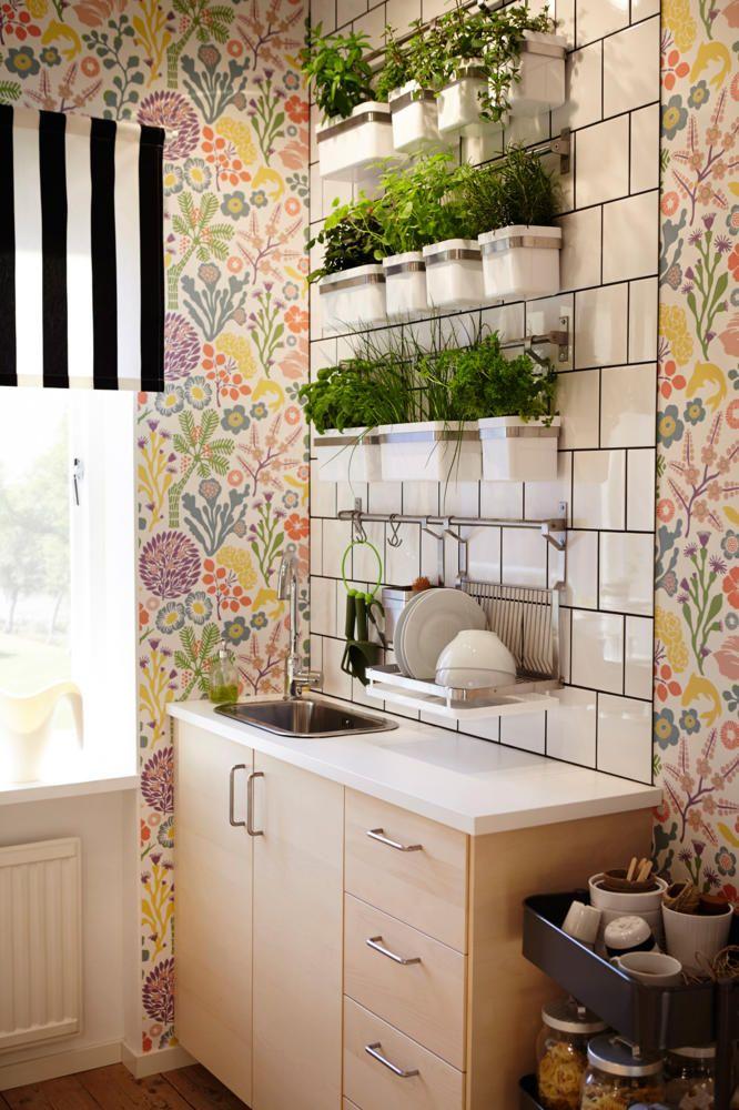 Frische Kräuter und eine schöne Blumentapete sorgt für Frühlingsstimmung in der Küche. Mehr hübsche Frühlingsdeko-Ideen gibt es hier: http://www.roomido.com/wohntrends-einrichtungstipps/dekoideen/fruehlingsvorboten-zimmerpflanzen-und-blumens.html #fruehling #pflanzen #blumen #wohnen #deko