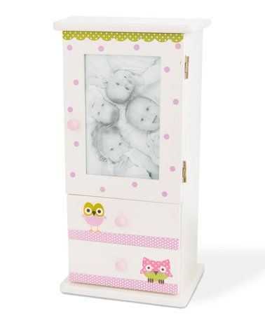 Another great find on #zulily! White & Pink Owl Picture Frame Mini Cabinet #zulilyfinds
