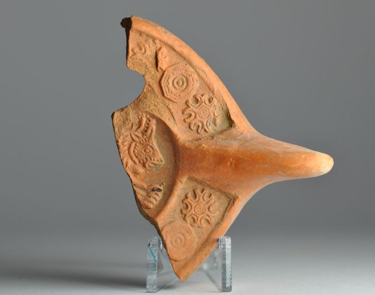 North African red slip oil lamp fragment with animal 9