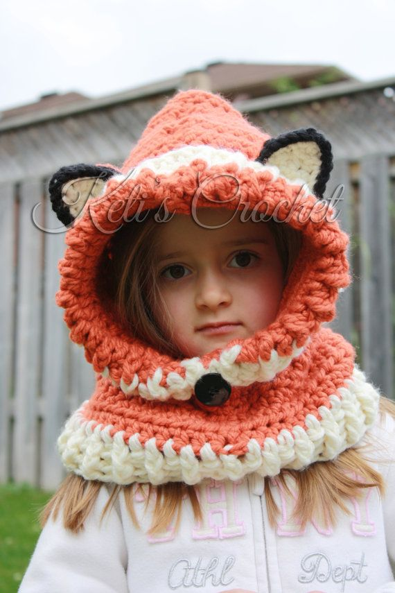 Hooded CowlHooded ScarfToddler Hooded ScarfFox by KetisCrochet