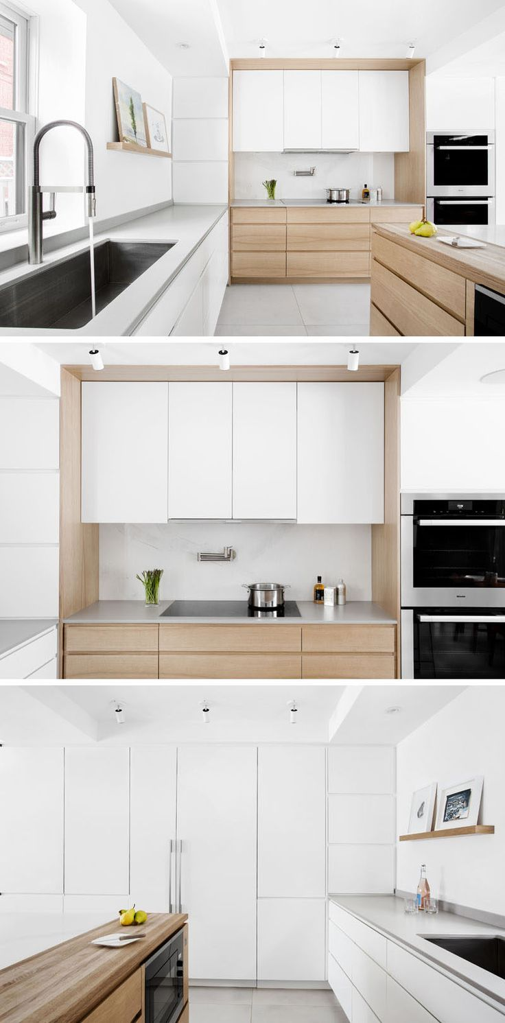 In this updated kitchen, white lacquered doors for the kitchen cabinets and integrated fridge panels extend to the ceiling and cast a bright reflection into the room. Additional lighting was added and to tie in with the dining table, the island and some of the lower cabinets are made of butternut and oiled in a matte finish. Large, oversized heated tiles used for the flooring resemble soft concrete.