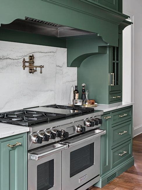 Range alcove cabinetry & brackets | Kitchen inspirations ...