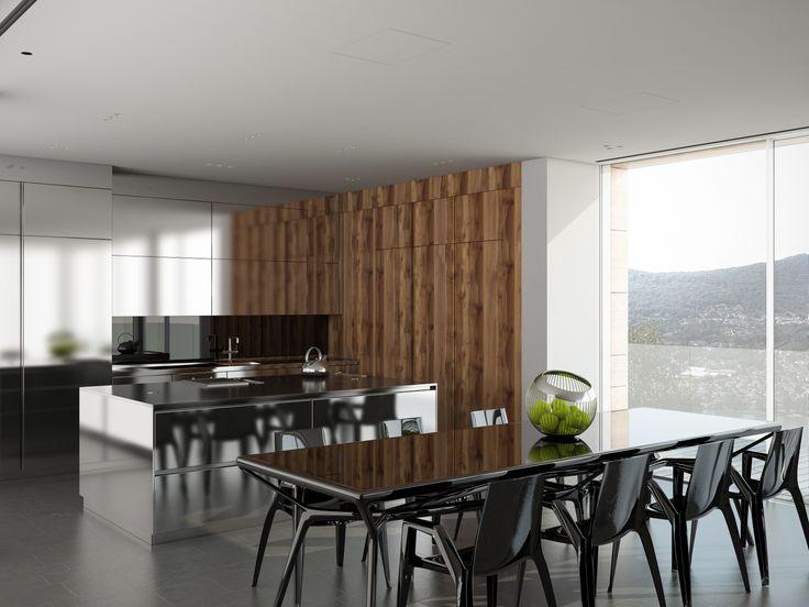 render build-design cucina in acciaio