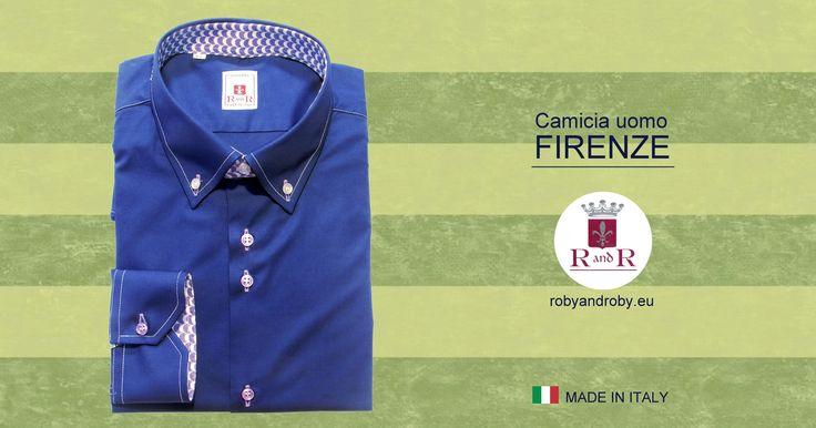 Camicia uomo FIRENZE #bluelettrico asole lilla Men's shirt FIRENZE #eletricblue lilac slot Contrasto stile 100% cotone #camiciauomo #mensshirt