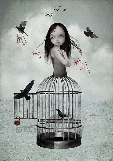 Pop Surrealism Art Print - Birdcage Girl & Birds - The One They Left Behind