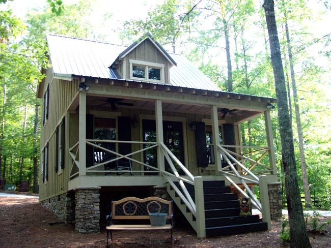 Hatchet Creek Cabin is a small guest house floor plan by Max Fulbright that will work great as a guest house for your parents or friends.
