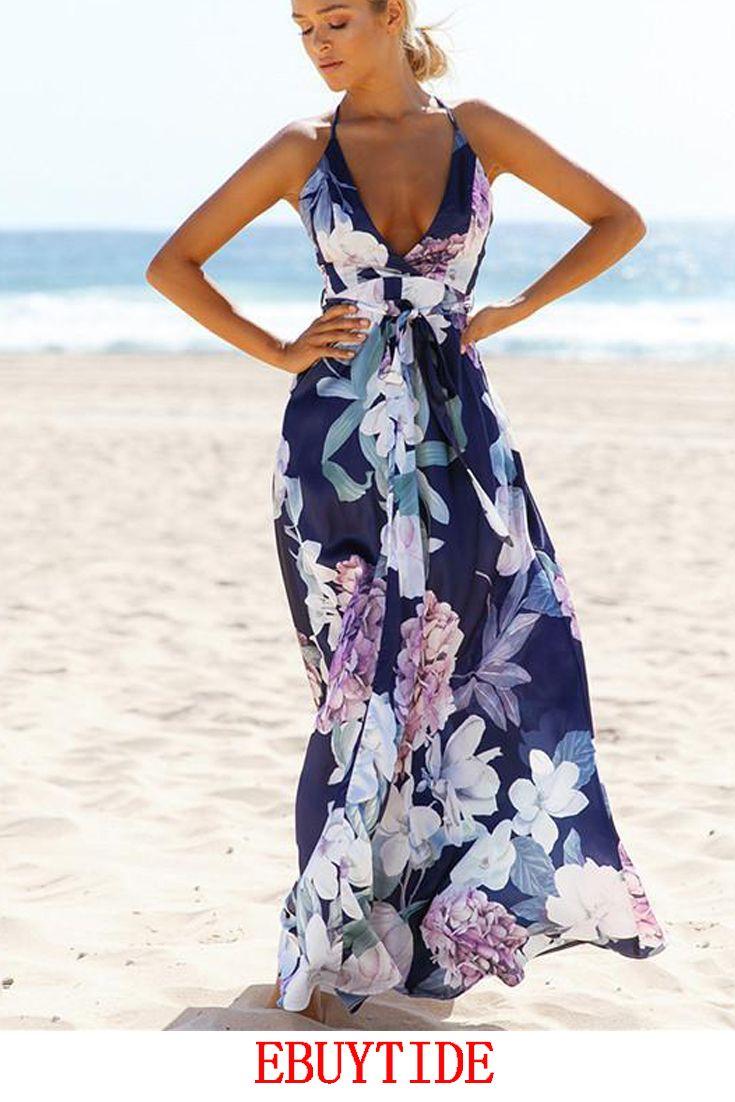 V Neck summer Womens Dress Cocktail Long beach women/'s Dresses Casual Party Maxi