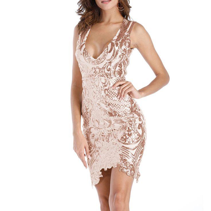 ONLY $18.96 2018 Spring Deep V Neck Sexy Club Off Shoulder Sequin Dress Women Irregular Backless Short Gold Dress Shiny Female Party Cloth