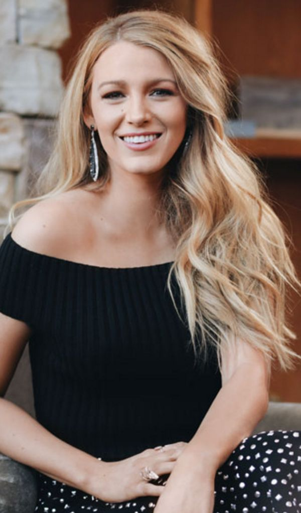 Who made Blake Lively's blue off the shoulder top and print skirt?