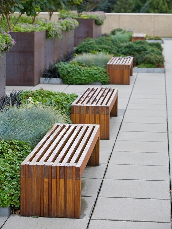 Hudson Benches shown in 6 foot, freestanding configuration with FSC® 100% Ipé hardwood slats