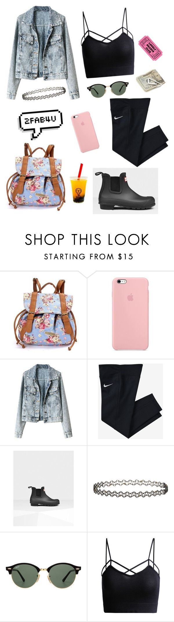 """""""Lonely Hearts Club💔"""" by kylieirwin11 ❤ liked on Polyvore featuring NIKE, Hunter, Miss Selfridge, Ray-Ban and Crate and Barrel"""