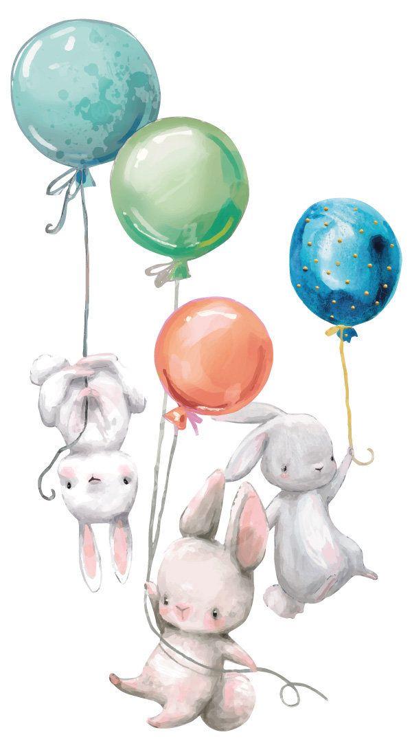 Wall Tattoo Nursery Bunny Bunnies Babies With Balloons Wall
