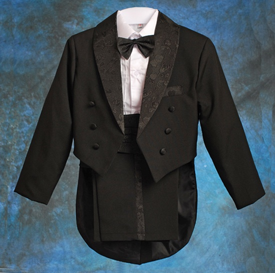 Black 5pcs Formal Boy Tuxedo Tail Suit Outfit Wedding Page Boy Size 6 ST001A | eBay