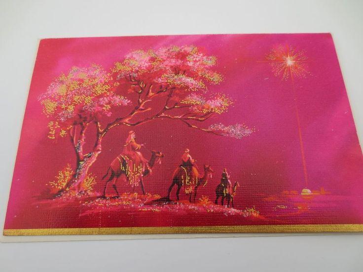Unused Mid Century Glittered Xmas Greeting Card Hot Pink Star of Bethlehem