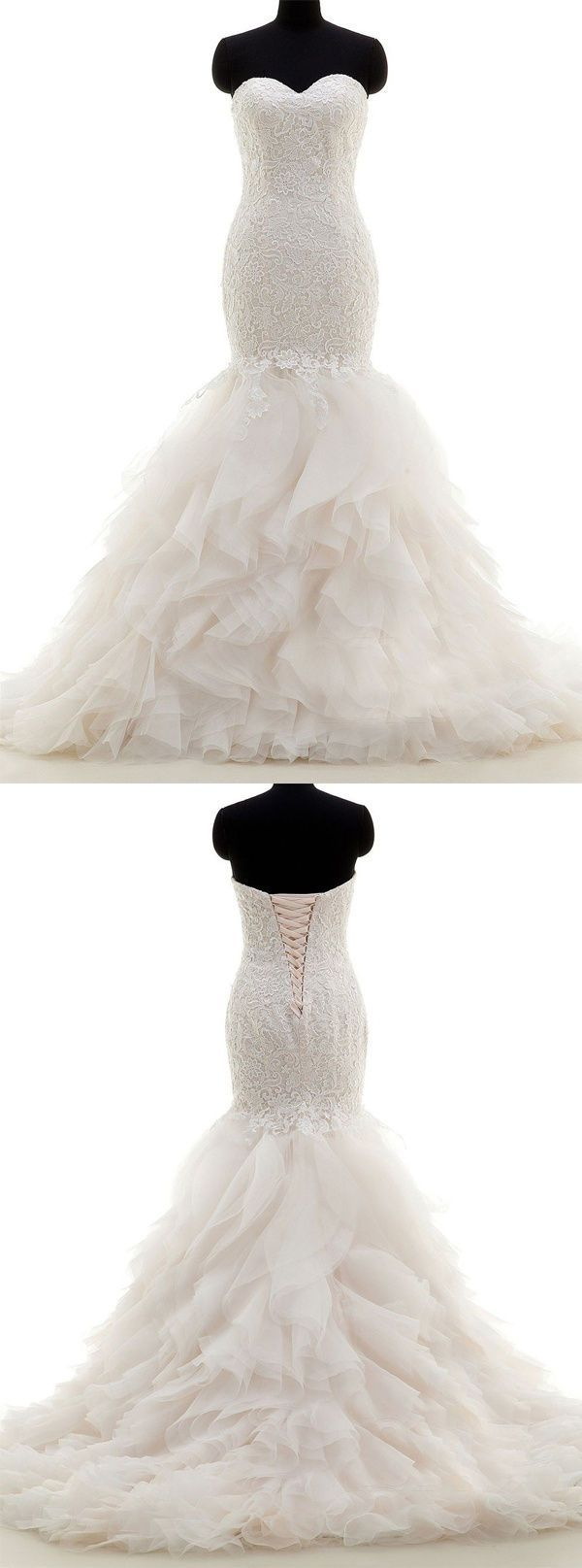 www.dresstells.co…    mermaid wedding dress, trumpet wedding dress, ivory wedd…