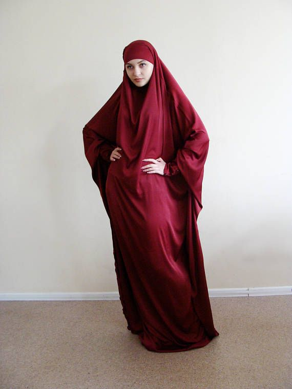 Long Silk Khimar muslim dress Burgundy BurqaWedding Abaya