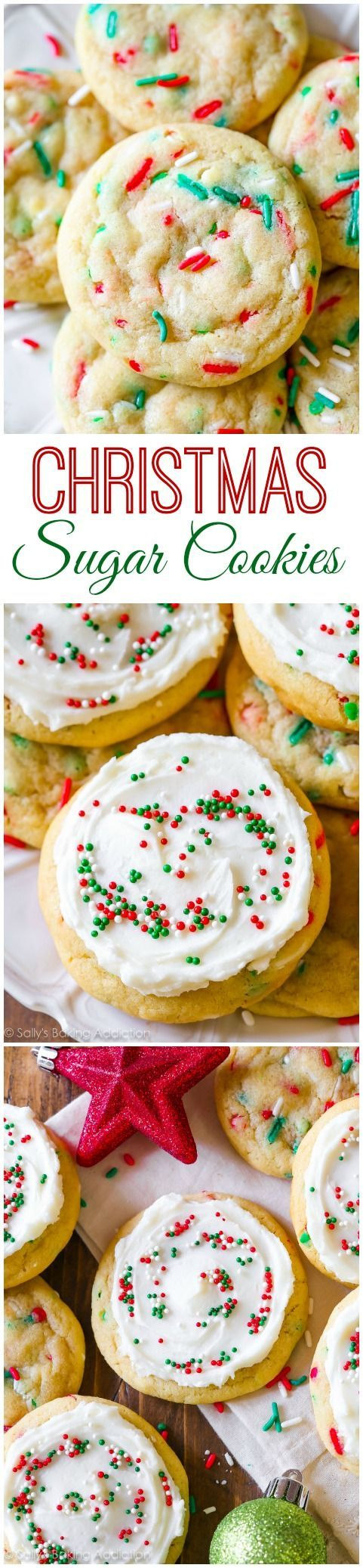 I call these frosted sugar cookies my Funfetti Cookies Supreme because there is nothing not supreme about them! One of the best cookies I've ever made. Recipe on sallysbakingaddiction.com