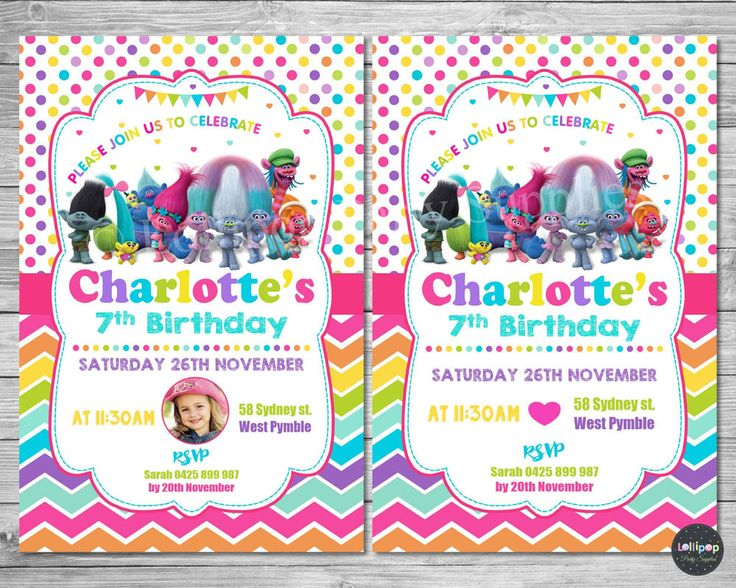 13 best Trolls Birthday Party Ideas images – Birthday Invitations Sydney