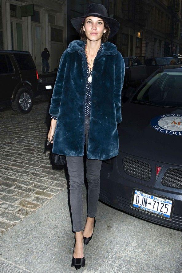 January 4 2012 Alexa Chung Fur Coats And