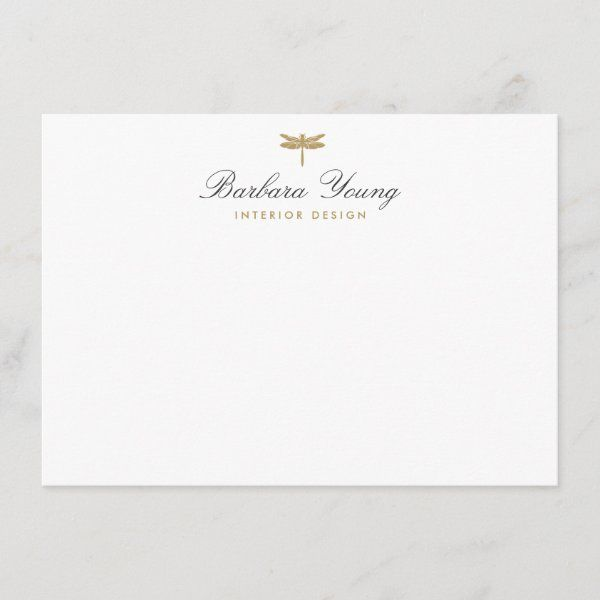 Elegant Type Gold Dragonfly Logo On White Note Card Zazzle Com In 2021 Note Cards Dragonfly Logo Personalized Note Cards