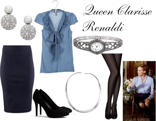"""Queen Clarisse Renaldi from """"The Princess Diaries"""" Naf Naf top, $31 / H&M elastic waist pencil skirt, $47 / Pretty Polly opaque stocking, $7.86 / Ash high heel / Silver plated jewelry / Jon Richard ball earrings, $19 / Hammered jewelry"""