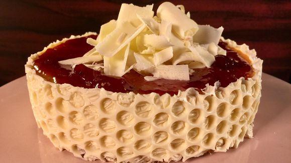 Carla Hall's White Chocolate Cheesecake with Strawberry Jam