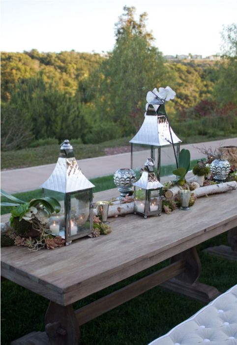 /: Lanterns Tables Sets, Mercury Glass, Backyard Parties, Tablescapes Rustic, Rustic Chic Wedding, Decor Mariage, Bridal Parties, Tables Decor, Rustic Silver Tablescapes