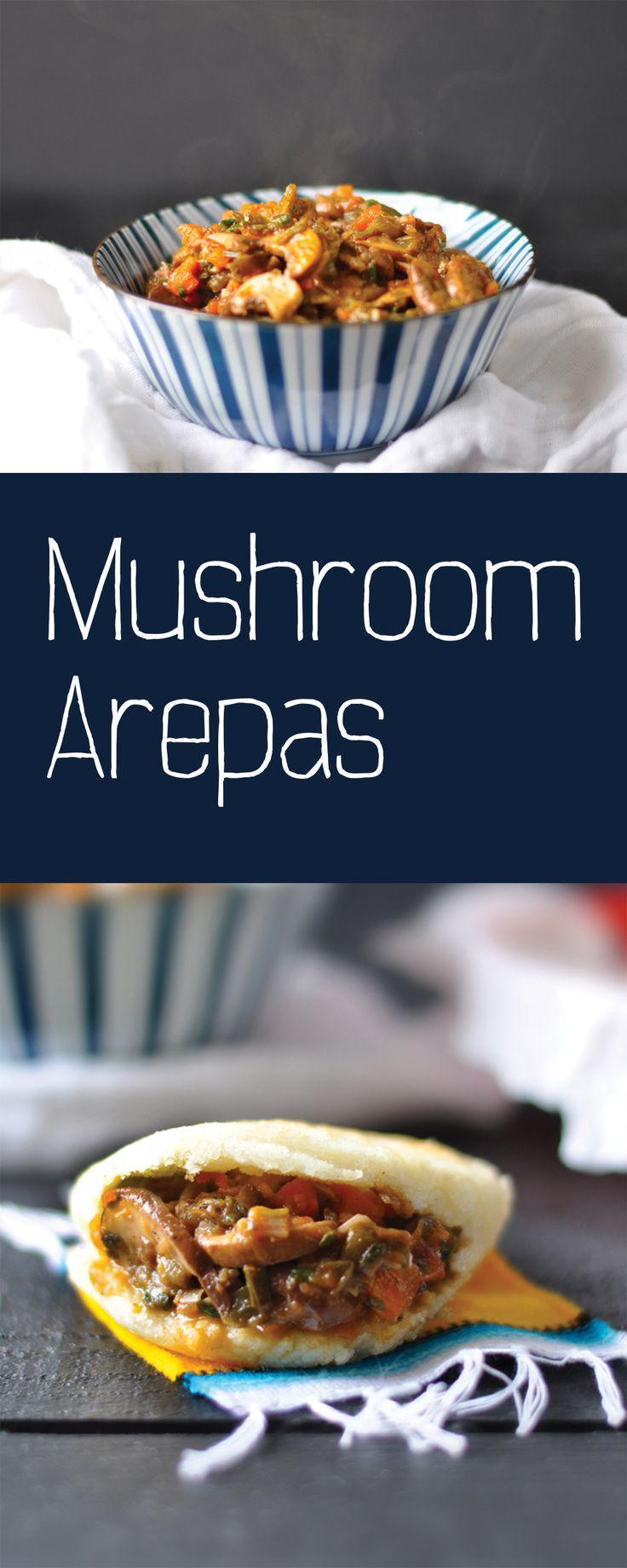 Vegan Venezuelan Mushroom Arepas. A sweet and tangy mushroom filling make a great vegan arepa filling option! #vegan #venezuelan | thymeandlove.com