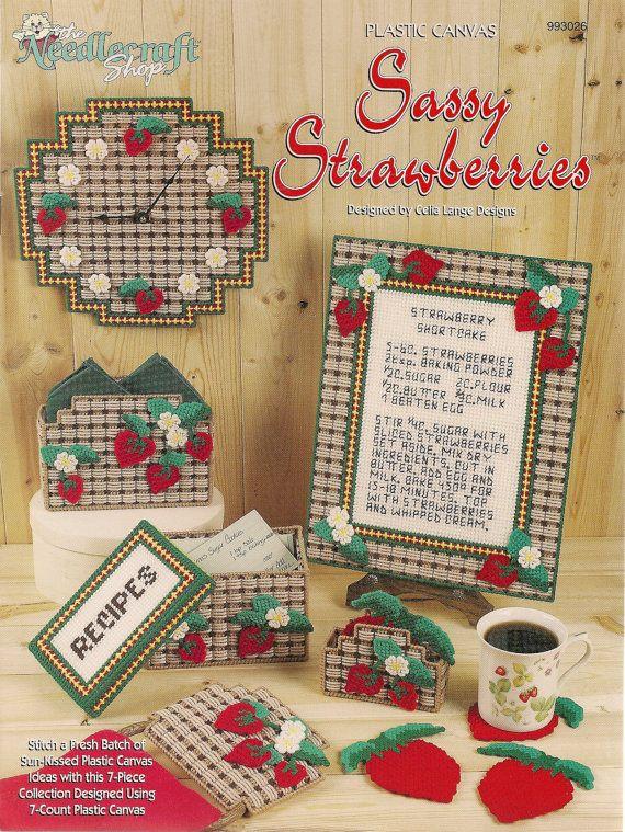 Sassie Strawberries Plastic Canvas Book by needlecraftsupershop, $7.99