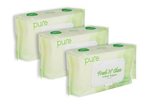 Fresh N Clean Pure Face Hand and Baby Wet Wipes Unscented and Alcohol Free 20x16 cm 80-Count (Pack of 3)
