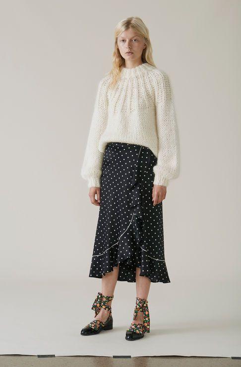 Dufort Silk Skirt, Black