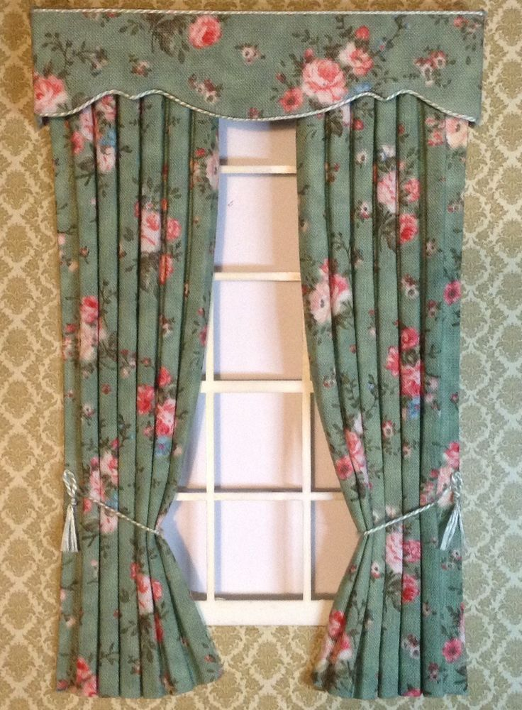 Items Similar To Green Pink Roses Miniature Curtains For Dollhouse X Or Made Your Size On Etsy