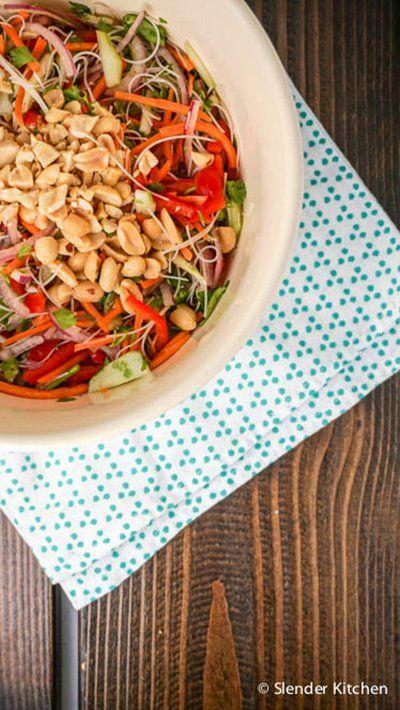 Vietnamese Rice Noodle Salad - Slender Kitchen. Works for Gluten Free, Vegan, Vegetarian and Weight Watchers® diets. 183 Calories.