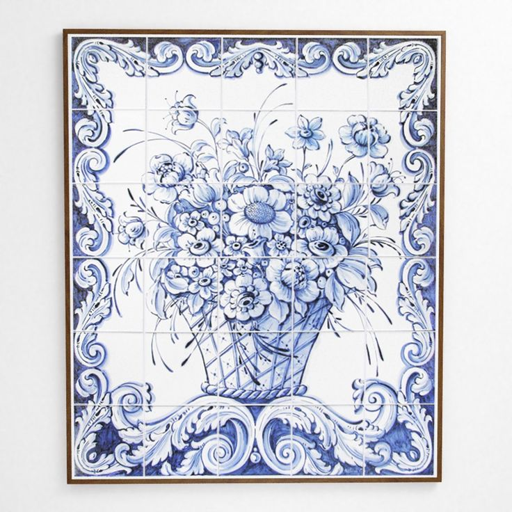 """Bouquet Real, or Royal Flower Bunch is a hand-made and hand-painted XVIII century royal flowers themed panel set in a beautiful mahogany frame ready to hang on any wall. The blue is characteristic of the Baroque style and method that evolved specifically in Portugal and can be found across some of the most magnificent palaces of historic Europe. 34-5/8"""" x 29"""" x 1"""" frame with 30 tiles. find it at www.tilesofportugal.com"""