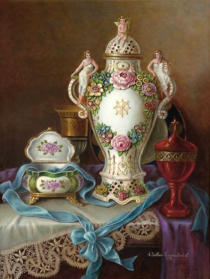 Anna Sattler-Seigerschmidt (1873-1962) — A Still Life with French Porcelain on a Table   (700×932)