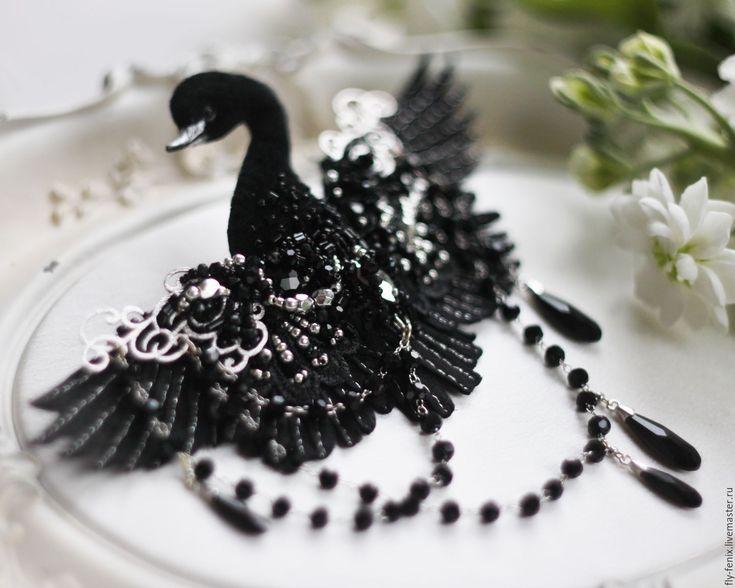 Купить Брошь Черный Лебедь - лебедь, лебеди, Лебединое озеро, птицы, птица, царевна лебедь
