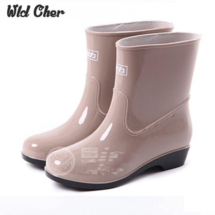 Новые Сапоги 2017 Водонепроницаемый Модные Желе Женщины Лодыжки Дождь Загрузки Резинка Сплошной Цвет Черный Женской Обуви купить на AliExpress