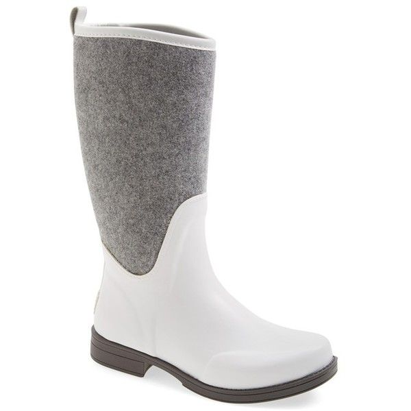 Women's Ugg Reignfall Waterproof Rain Boot (100 CAD) ❤ liked on Polyvore featuring shoes, boots, white, waterproof shoes, water proof boots, white fuzzy boots, ugg shoes and white wellington boots