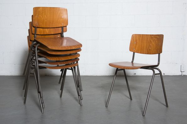 Set+of+6+Friso+Kramer+Style+Stacking+School+Chairs+