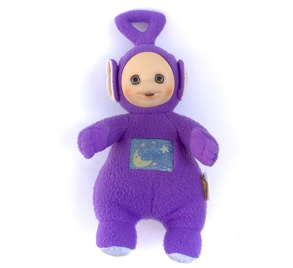 Vintage Teletubbies Tinky-Winky Purple Teletubby  www.CuteVintageToys.com  Hundreds Of  Vintage Toys From The 80s & 90s! Follow Me & Use The Coupon Code PINTEREST For 10% Off Your ENTIRE Order!  Dozens of G1 My Little Ponies, Polly Pockets, Popples, Strawberry Shortcake, Care Bears, Rainbow Brite, Moondreamers, Keypers, Disney, Fisher Price, MOTU, She-Ra Cabbage Patch Kids, Dolls, Blues Clus, Barney, Teletubbies, ET, Barbie, Sanrio, Muppets, Sesame Street, & Fairy Kei Cuteness!