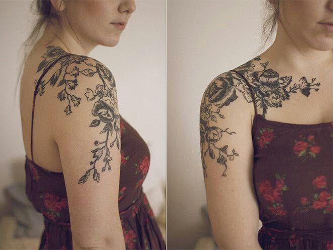 Delicate Floral Antique Tattoo On The Shoulder Cap