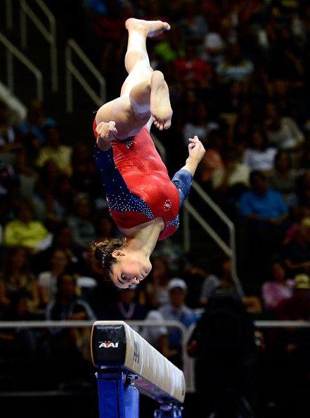 Aly Raisman.....imagine doing an aerial on a balance beam! I'd have a heart attack.