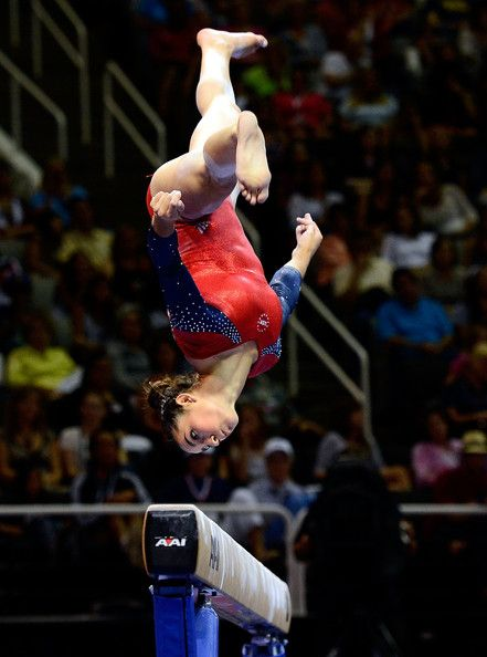 Aly Raisman.....imagine doing an aerial on a balance beam! I'd have a heart attack.