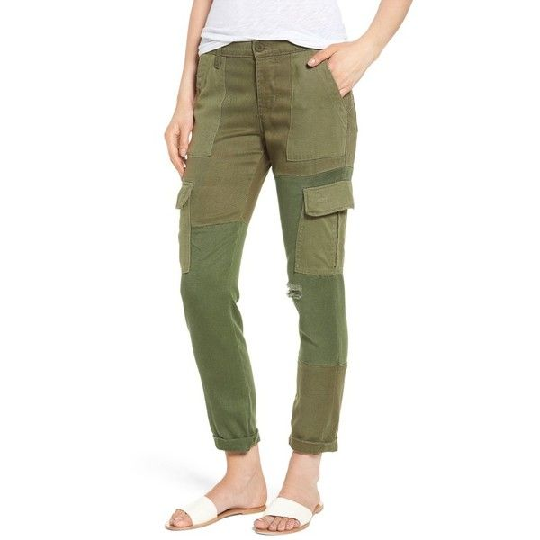 Women's Hudson Jeans Riley Straight Leg Cargo Pants ($275) ❤ liked on Polyvore featuring pants, utility remix, vintage trousers, green trousers, hudson jeans, utility pants and straight leg pants